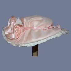 """Vintage Large Pink & White Satin Doll Sun Hat 14"""""""