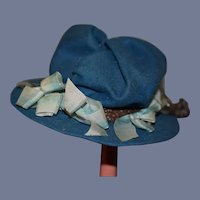 """Vintage Artist Blue Doll Hat With Bows And Feather 10"""" Circ"""
