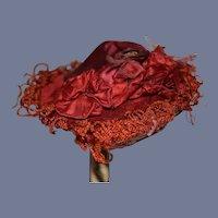 "Antique Victorian Era Beautiful Red Silk And Velvet Doll Hat 8"" Circ"