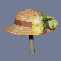 "Vintage Beautiful Doll Sun Hat With Yellow Flowers 15.5"" circumference"