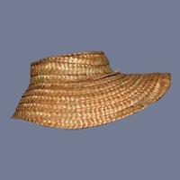 "Vintage 7.5"" circumference Straw Bonnet High Brim Woven Sun Hat Doll"
