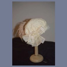 """Vintage Beautiful white Lace Doll Hat With Pink Feather And Flowers 17 """" circ"""