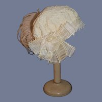 "Vintage Beautiful white Lace Doll Hat With Pink Feather And Flowers 17 "" circ"