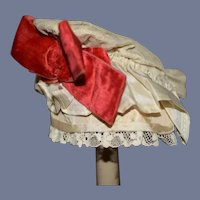 "Vintage Cream Lace Doll Bonnet With Red Bow 10"" Circ"