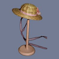"Vintage Miniature Pink Flowers Doll Straw Sun Hat 5"" head circumference"