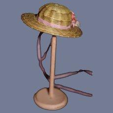 "Vintage Miniature Pink Flowers Doll Straw Sun Hat 5"" head circumference"