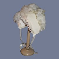 Vintage Artist Beautiful White Lace And Silk Blend Doll Bonnet With Feathers 14 inch head circumference