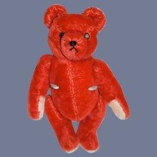 Vintage RED Teddy Bear Mohair Hermann Teddy-Original Jointed Doll Friend