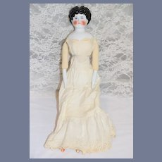 """Antique Doll China Head 21"""" Tall Smiling Center Part"""
