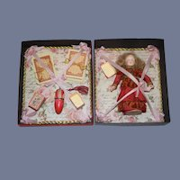 Wonderful Antique Doll W/ Artist Trousseau Box Cards Boxes Sewing