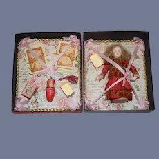 Wonderful Antique Doll W/ Artist Trousseau Box Cards Boxes Sewing