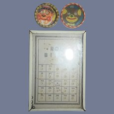 Old Tin & Litho Game Set Roll Bingo Glass Front and Two Miniature Games Hand Held