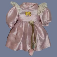 "Vintage Silk Doll Dress Petite W/ Flower Sash 4"""