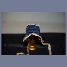 Sweet Petite Doll Bonnet Hat Crochet Fancy Needle Work Fashion Doll