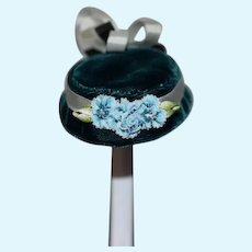 Vintage Doll Hat Bonnet Velvet Maison Marti French Market