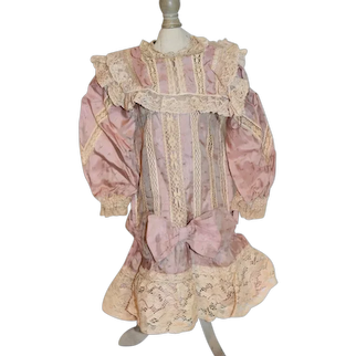 Vintage Sweet Doll Dress French Market Drop Waist Lace Artist