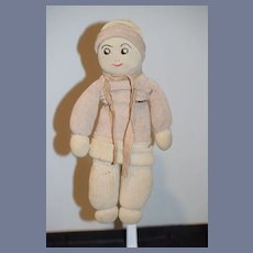 Old Cloth Doll Stockinette Sewn Side Glancing Eyes