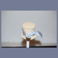 Vintage Doll Hat Bonnet Crochet W/ Bow