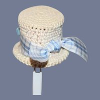 Vintage Doll Hat Bonnet Crochet W/ Bow
