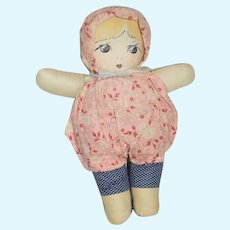 Vintage Cloth Doll Printed Features Sweet
