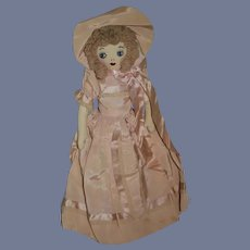 Sweet Old Cloth Doll W/ Sewn Features Fancy Clothes Undergarments