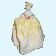 Beautiful Antique German Porcelain China Half Doll  with Wire Body 7 inches