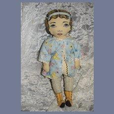 Vintage 1964 Dorothy Hesner Cloth Printed Face Doll Sweet Signed