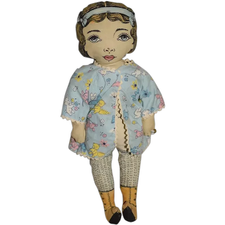 Vintage 1964 Dorothy Hesner Cloth Printed Face Doll Sweet Signed