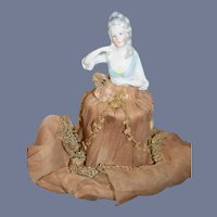 """Beautiful Antique German China Head Doll with wire Body for Lamp 7.5"""""""