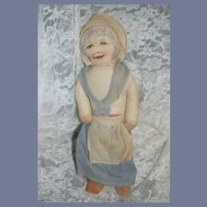 Vintage Cloth Doll Printed Face Original Clothes W/ Wood Shoes