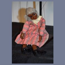 Old Doll Black Marionette Composition Character Doll