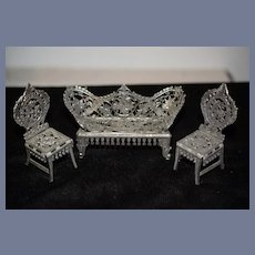 Vintage Soft Metal Doll Dollhouse Miniature Furniture Settee Chairs Ornate