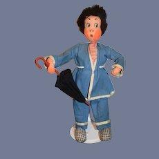 Vintage Cloth Character Doll Klumpe or Roldan Character Doll
