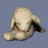 Old Cloth Stuffed Lamb Sleeping Doll Companion