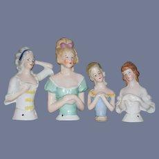 Old Doll China Head Half Doll Dolls Lot Four German Fancy