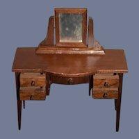 Vintage Doll Wood Dollhouse Desk Dresser Vanity W/ Working Drawers and Mirror