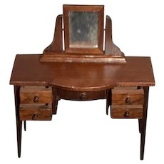 Vintage Doll Wood Dollhouse Desk Dresser Vanity W/ Working Drawers and Mirror