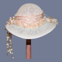 Wonderful Doll Hat Bonnet Fancy Artist Judith Phelp's W/ Hat Box