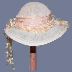 Wonderful Doll Hat Bonnet Fancy Artist Judith Phelp's W/ Hat Box