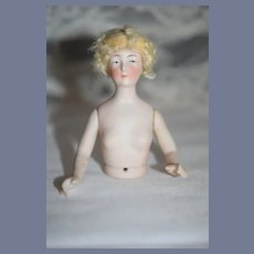 Old Bisque China Head Half Doll W/ Jointed Arms Fancy