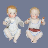 Antique Piano Babies Playing Musical Instruments Miniature Doll Set