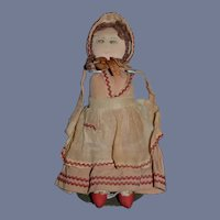 Old Cloth Doll Rag Drawn On Features  Sweet Folk Art