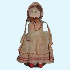 Old Cloth Doll Rag Drawn On Features  Sweet Folk Art