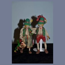 Old Unusual Cloth Doll Pair Character Dolls Set