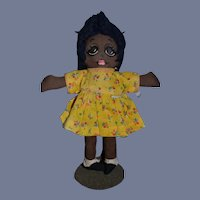 Sweet Vintage Black Cloth Doll Painted Features Big Eyes Cute!