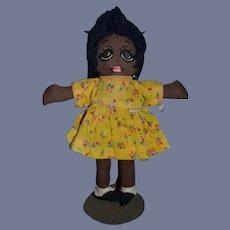 Sweet Vintage Black Cloth Doll Painted Features Big Eyes Cute!