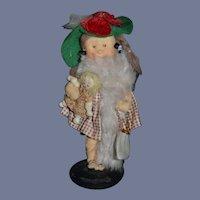Vintage Cloth Doll Gwen Flather W/ Tag Petite Size Little Girl W/ Doll ARtist