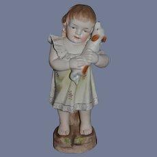 Vintage Doll Piano Baby Figurine Girl W/ Dog Sweet