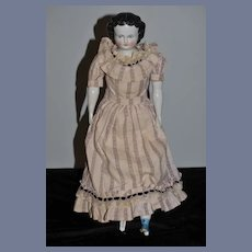 Antique Doll China Head Smiling Center Part Beautiful Dress