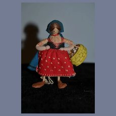 Old Cloth Doll Dressed Felt Italian Miniature Character